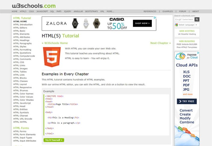 Tutorial Web W3schools